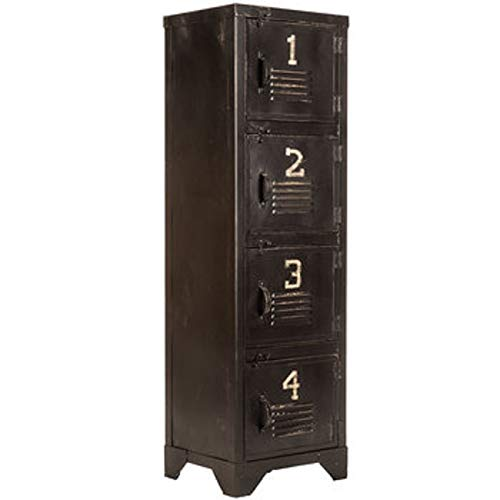 K&N35 Indoor Collectible Antique Industrial Style Black Metal Storage Locker Rustic Home Decor