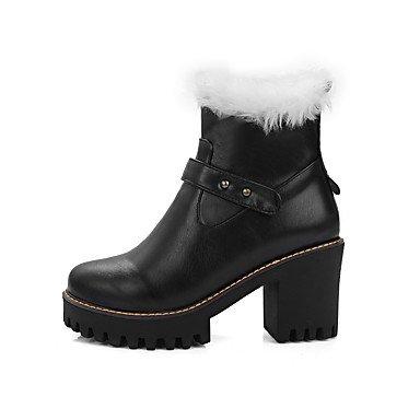 LFNLYX Mujer-Tacón Robusto-Botas de Nieve / Punta Redonda-Botas-Vestido-Semicuero-Negro / Marrón / Almendra Brown