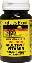 Multiple Vitamin with Minerals No Iron 100 Tabs by Nature's Blend