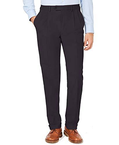 Lauren Ralph Lauren Men's Classic/Regular Fit Corduroy Double Reverse Pleated Dress Pants, Black, 38W x 32L