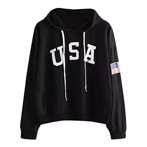 Sweatshirt, ZTY66 Women's USA Letter and Flag Printed Long Sleeve Crewneck Casual Pullover Tops (XL, Black) by ZTY66_Women's Sweatshirt Pullover Blouse