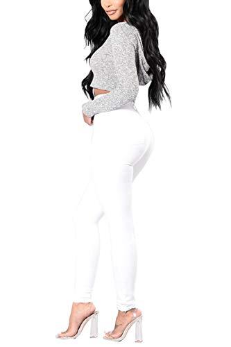 Jeans White Donne Magre In Con Tasca Alto Denim Lunghi Le Pantaloni Yulinge wUPgqIx