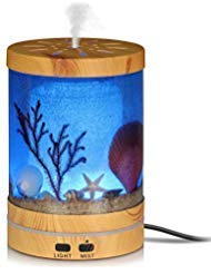 (Aigoceer Essential Oil Diffuser, Ocean Theme Diffusers for Essential Oils Ultrasonic Aromatherapy Diffuser Cool Mist humidifier, Waterless Auto Shut-off and 7 Color LED Lights Changing for Home Office)