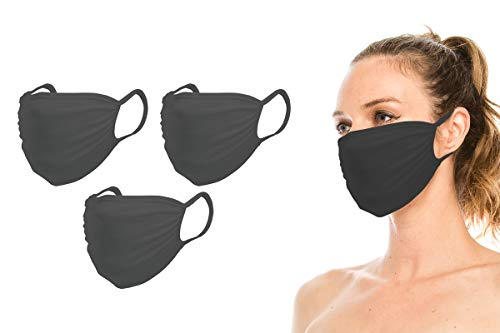 DaPara 3 Pack Fashion Protective Face Mask, Washable, Reusable, Breathable, Made with Skin Friendly Bamboo Fiber, Made in USA (One Size, Black-3Pack)