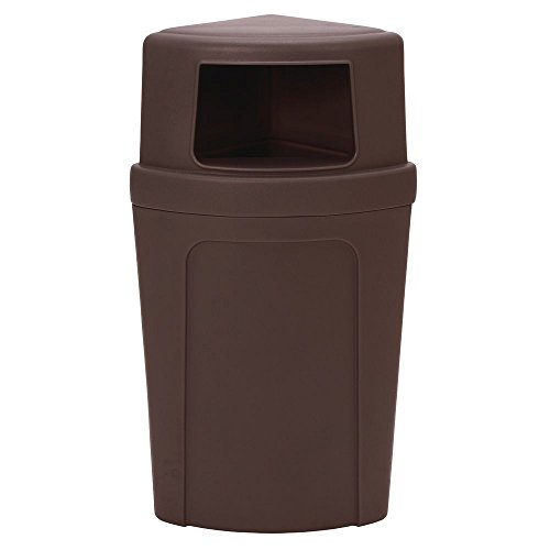 Corner Round Receptacle - Continental 21 gal Brown Plastic Corner Round Receptacle with Dome Lid - 21 1/2