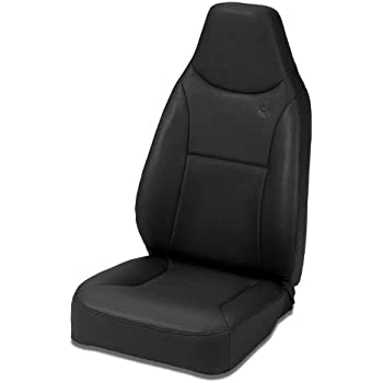 Bestop 39436-15 TrailMax II Black Denim Front High Back All-Vinyl Fixed Single Jeep Seat for 1976-2006 Jeep CJ and Wrangler