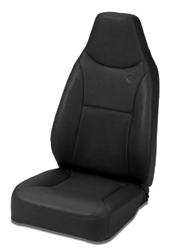 Bestop 39436-15 TrailMax II Black Denim Front High Back All-Vinyl Fixed Single Jeep Seat for 1976-2006 Jeep CJ and (Standard Bench Seat)