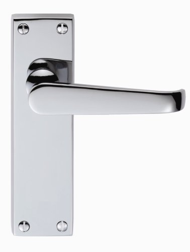(Classical VICTORIAN Lever Latch on Backplate Door Handle (Pair) - Finish - Polished Chrome (PC) by City Deco Centre)