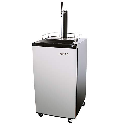 KUPPET Kegerator& Draft Beer Dispenser, Beer Kegerator, Keg Beer Cooler for Party,Compressor Cooling CO2 Regulator Casters, Single-Tap,Stainless Steel,3.4 Cu.ft.