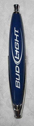 Bud Light Beer Pub Style Tap Handle - Blue w/ White Lettering & Chrome Accents Base- 12