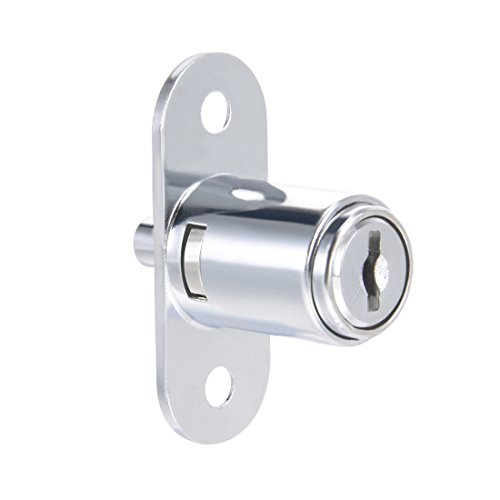 uxcell Push Plunger Lock, 3/4-inch(19mm) Cylinder Zinc Alloy Chrome Finish, Keyed Different