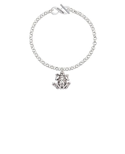 Silvertone Large Filigree Frog Sisters Infinity Toggle Chain Bracelet 8