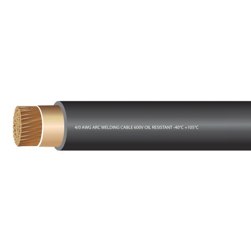 EWCS 4/0 Gauge Premium Extra Flexible Welding Cable 600 Volt Black - 25 Feet - Made in the USA by EWCS