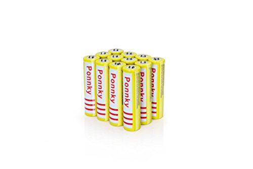 Ponnky 12Pcs 3.7V 18650 5000mah Rechargeable Lithium Battery (Yellow) by Gorde