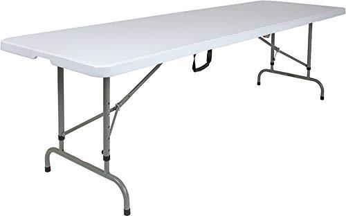 "Price comparison product image Emma + Oliver 30"" W x 96"" L Adjustable Portable Granite White Plastic Banquet Folding Table"