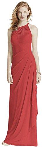 Illusion Robe De Demoiselle D'honneur Maille Longue Manches De Mariée De David Décolleté De Style F15662 Guava