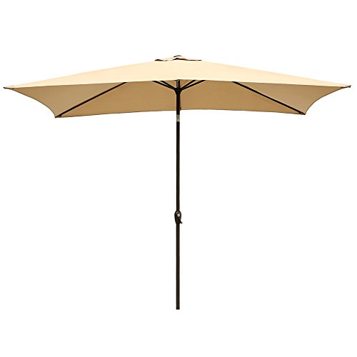 Le Papillon 6.6″ x 10″ Rectangular Patio Umbrella Aluminum UV Protection Market Umbrella, Beige