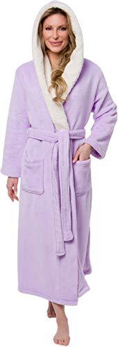 Silver Lilly Full Length Hooded Long Robe - Women's Luxury Plush Bathrobe w/Sherpa Trim Collar (Purple, XX-Large) - Length Nightgown Tea