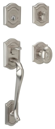 - Baldwin 85327.150.ENTR Bethpage Sectional Trim Handleset with Bethpage Knob, Satin Nickel