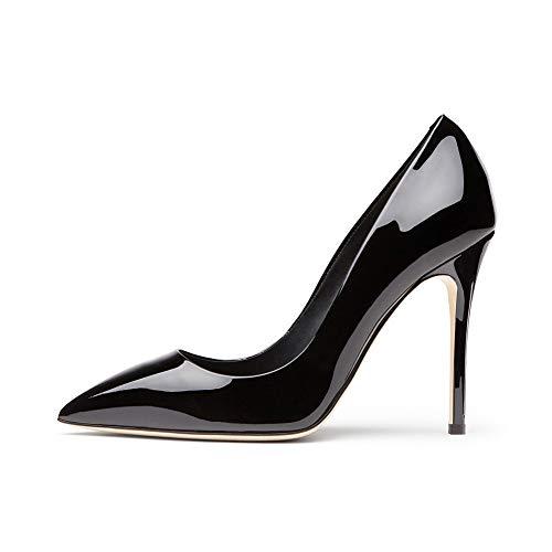 De Plate Black Chaussures Cuir Brillant Mariage Soirée Robe Mariée Bout Fermé Chaussures Femmes Étanche Pointé Stiletto Simples Simples Forme U6nqFX