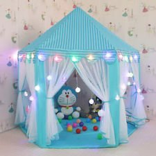 """e-Joy Kids Indoor/Outdoor Tent Fairy Princess Castle Tent, Portable Fun Perfect Hexagon Large Playhouse Toys for Girls 55""""x 53""""(DxH) Blue with LED lights"""