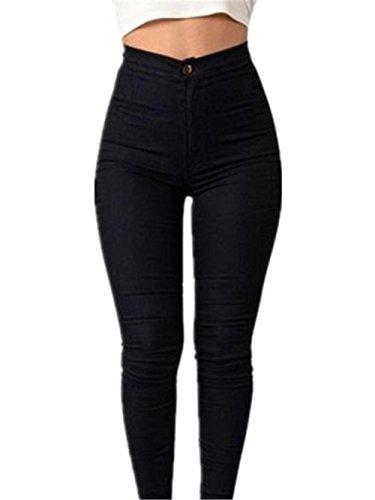 los Cintura S Estiramiento del Mujeres lápiz Jeans Pantalones Pantalones Chica del Casual Denim Sky Negro Vaqueros 0f8qwa1nn