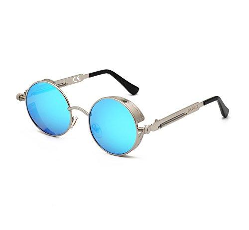 de Métal DAWILS Bleu Lunettes Soleil Polarisées Soleil 400 1 UV Rétro Lennon Lunettes John en Rondes Classique Femmes Argenté de gnrgxF4