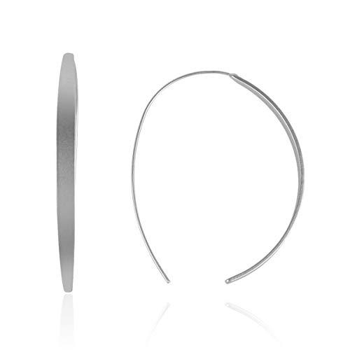 RIAH FASHION Modern Metallic Arc Bar Pull Through Threader Earrings - Simple Lightweight Curved Vertical Drop Open Fish Hoop Dangles (Curved Slim Bar-Silver)