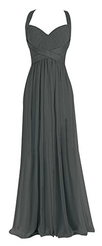 Chloyi Sweetheart Sleeveless Chiffon Ball Gown Evening Prom Party Dresses US16 Grey - Empire Sweetheart Sleeveless