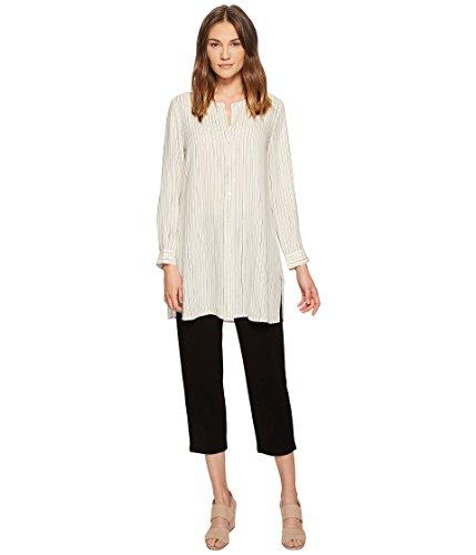 Tunic Georgette Silk - Eileen Fisher Painterly Stripe Silk Georgette Long Sleeve Button Front Shirt Tunic - Bone