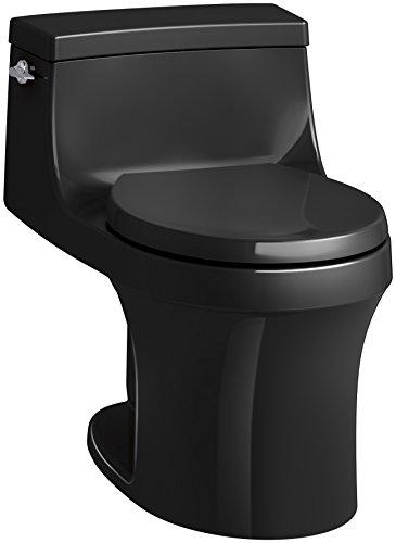 (KOHLER K-4007-7 San Souci Round-Front 1.28 GPF Toilet with AquaPiston Flushing Technology and Left-Hand Trip Lever, Black Black, 1-Piece)