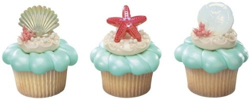 - Beach Seashell Sand Dollar and Starfish Cupcake Rings - 24 ct