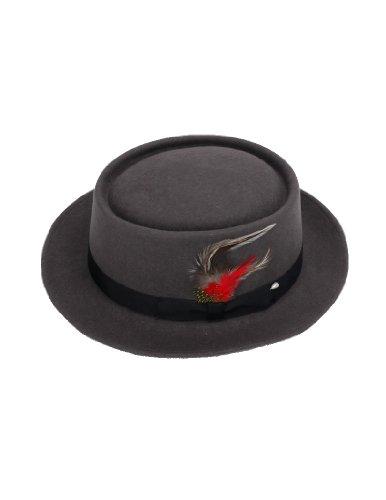 New Mens 100% Wool Gray (Grey) Porkpie (Pork Pie) Hat