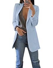 Dazosue Womens Casual Blazer Open Front Long Sleeve OL Work Jackets with Pockets