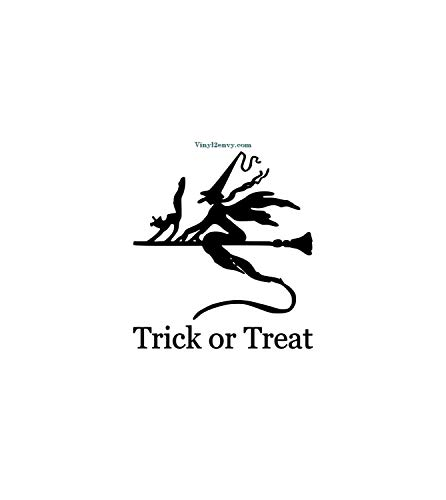 Susie85Electra Trick Or Treat Witch Broom Halloween Decal Wall Decal Vinyl Wall Decal Wall Decor Signage Window Decal Front Door Decal Witch Decal -