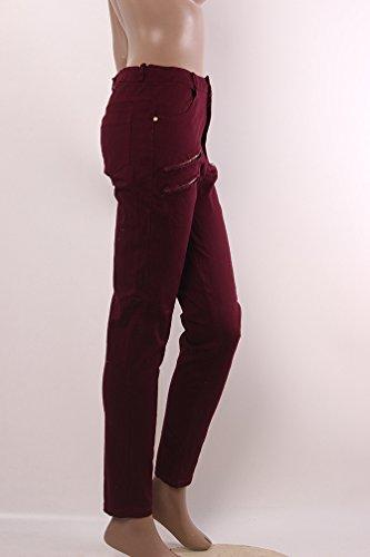 YiLianDa Mujeres Slim lápiz Pantalones Cool Skinny Pantalones Vaqueros Largos Rojo