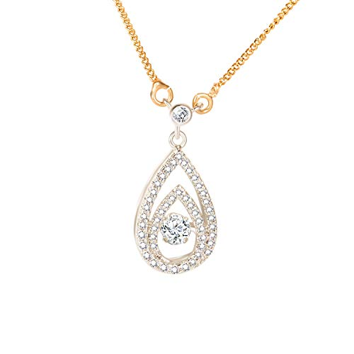 DHMK Teardrop Necklace, Double Water Drops Dancing Stone Sterling Silver Necklace, Gold Chain Jewelry for Women and Girls, Valentine's Day Anniversary Birthday Gifts ()