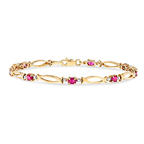 10k Yellow Gold Oval Red Ruby and Diamond Accent Link -