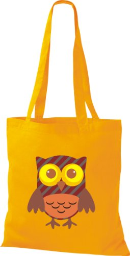 Stoffbeutel Bunte Eule niedliche Tragetasche mit Punkte Karos streifen Owl Retro diverse Farbe gelb OXvRorl3