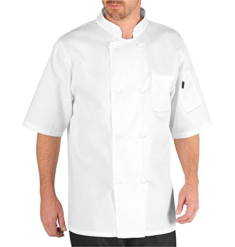 Chef Code Men's Short Sleeve Unisex Classic Chef Coat (2XL, White)