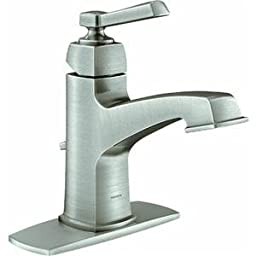 Moen 84805SRN Single Handle Single Hole Bathroom Faucet from the Boardwalk Collection, Spot Resist Brushed Nickel