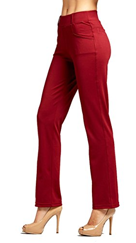 Premium Women's Stretch Dress Pants - Treggings - Bootcut Burgundy - Medium - YE01-Solid-Burgundy-M