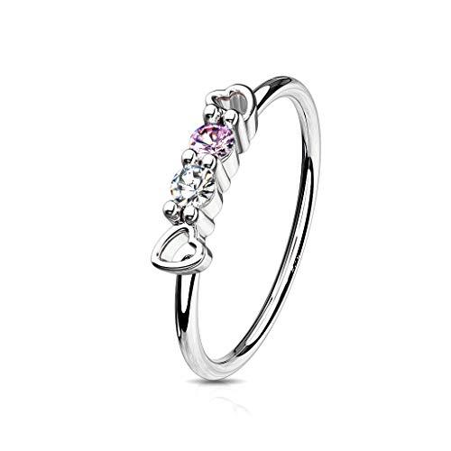 - Amelia Fashion 20 Gauge CZ and Hearts Set Top Bendable Nose Hoop/Cartilage Ring 316L Surgical Steel (Choose Color) (Steel)