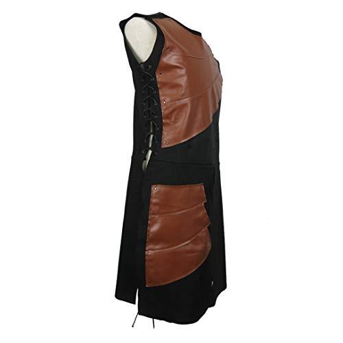Elefan Cornelia Underwear Men's Side Laces up Knight Viking Pirate Armor Long Waistcoats Vests Long  - coolthings.us