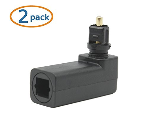 C-zone Pack of 2 360 Degree Digital Fiber Optic Toslink Right Angle 90 Degree Female to 3.5 mm Mini Male Optical Audio Connector Adapter