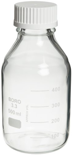 Safety Coated Bottles - Wheaton 219939 Safety Coated Bottle, Media/Reagent Style, 500mL With Polypropylene Pour Ring And 45mm White Polypropylene Unlined Screw Cap, 86mm x 186mm (Case of 12)