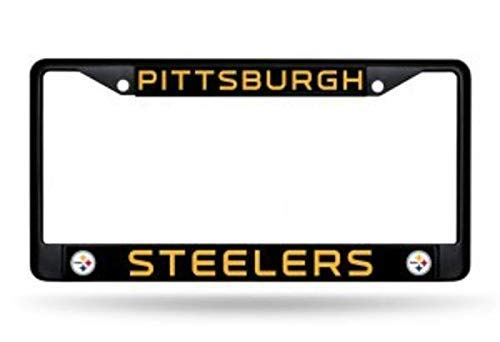 Pittsburgh Steelers Black License Plate Cover Stainless Steel Metal Car Vehicle Decor