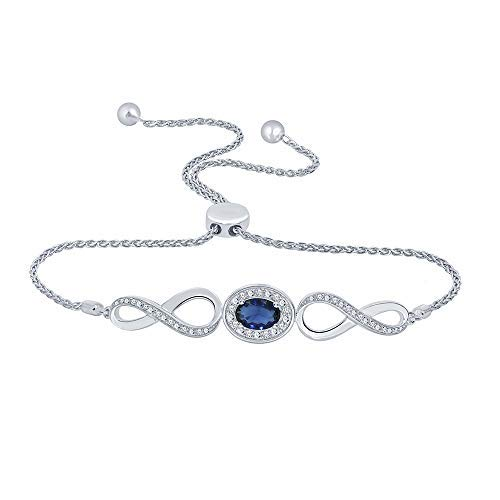 1/10ct Round White Diamond Created Blue Sapphire 925 Sterling Silver Infinity Bolo Strand Bracelet For Teens Womens