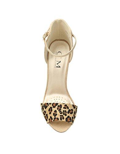 beige leopard C'M à Paris sandale talon femme bicolore 7Y7AXHnq