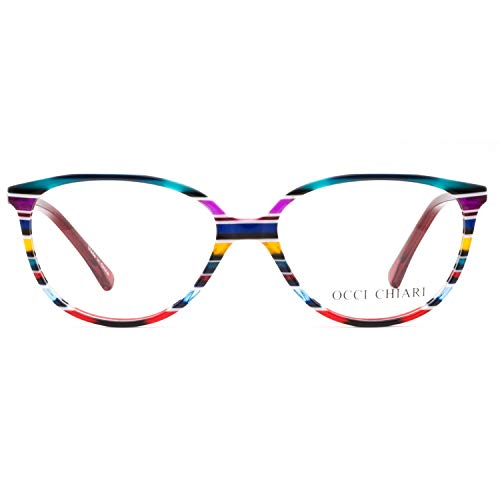 OCCI CHIARI Women Red Oval Striped Non-Prescription Eyeglasses With Clear Lens 53 16 135 (53 16 135)